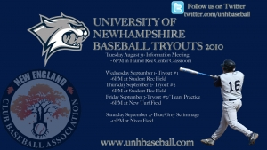 UNH Baseball Announces Fall Tryouts
